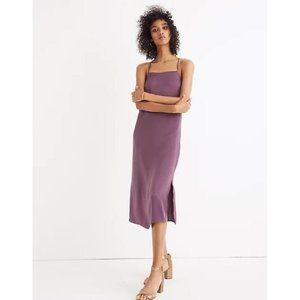 Madewell Apron Satin Slip Dress Square Neck Purple